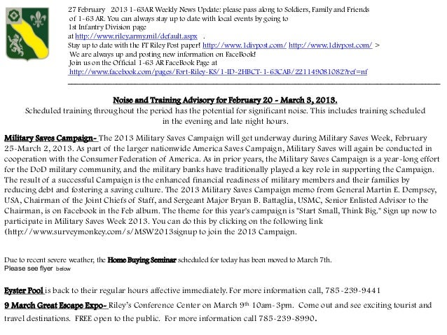 27 February 2013 1-63AR Weekly News Update: please pass along to Soldiers, Family and Friends                      of 1-63...