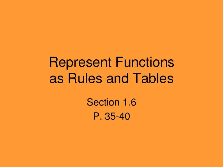 Represent Functionsas Rules and Tables<br />Section 1.6<br />P. 35-40<br />