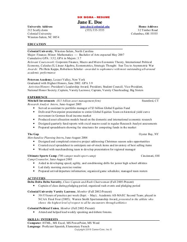 Superior SIX SIGMA U2013 RESUME ...  Six Sigma Resume