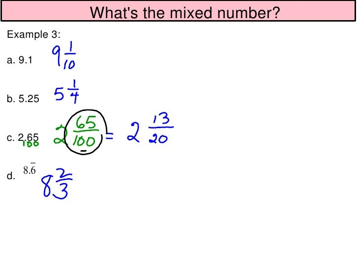 1 7 decimals for mixed numbers cont