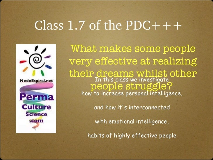 Class 1.7 of the PDC+++ What makes some people very effective at realizing their dreams whilst other people struggle?  In ...