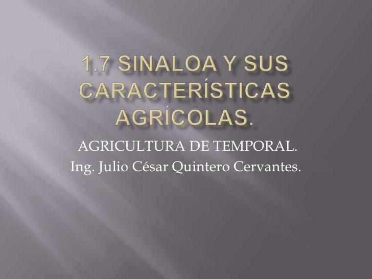 1.7 SINALOA Y SUS CARACTERÍSTICAS AGRÍCOLAS.<br />AGRICULTURA DE TEMPORAL.<br />Ing. Julio César Quintero Cervantes.<br />