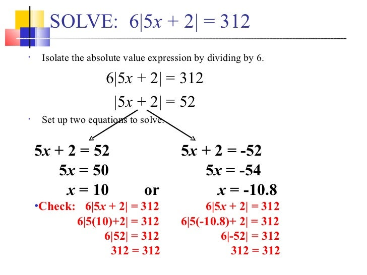 solving problems with absolute value