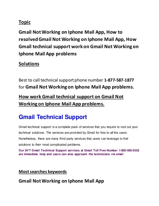 1 855-486-4229 gmail not working on iphone mail app
