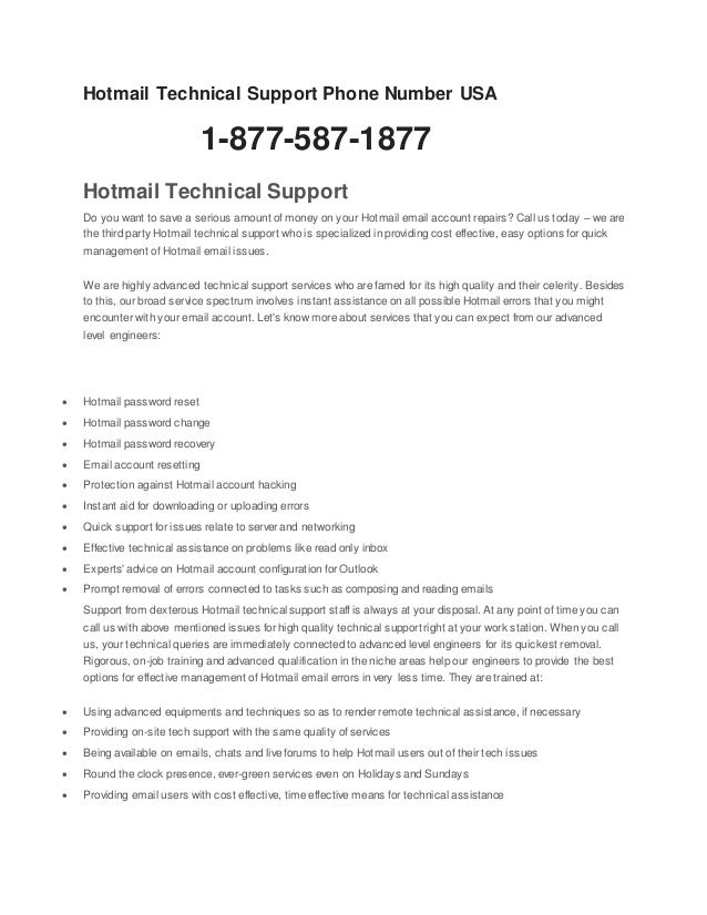 1 (877-587-1877) hotmail toll free phone number usa