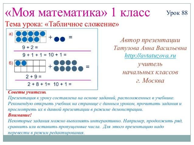 «Моя математика» 1 класс                                           Урок 88Тема урока: «Табличное сложение»                ...