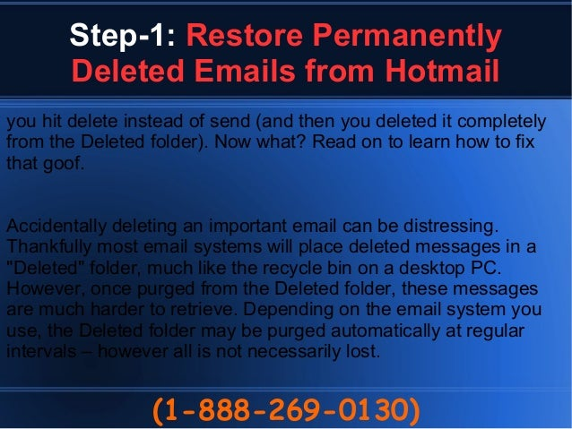 how to find deleted emails on hotmail