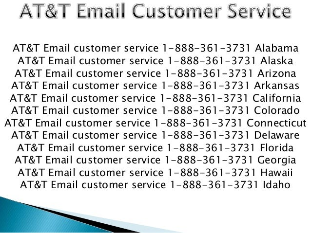AT&T Email customer service 1-888-361-3731 TOLL FREE