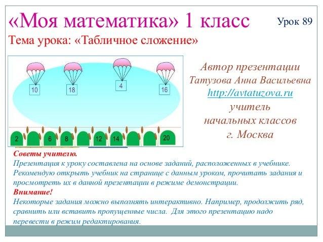 «Моя математика» 1 класс                                           Урок 89Тема урока: «Табличное сложение»                ...