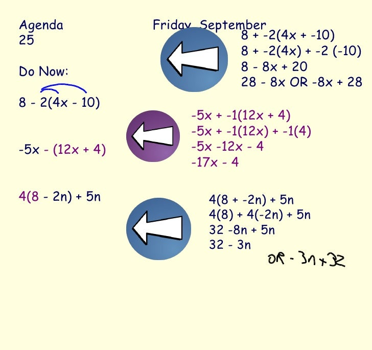 Agenda Friday, September 25 Do Now: 8 - 2(4x - 10) -5x  - (12x + 4) 4(8  - 2n) + 5n 8 + -2(4x + -10) 8 + -2(4x) + -2 (-10)...