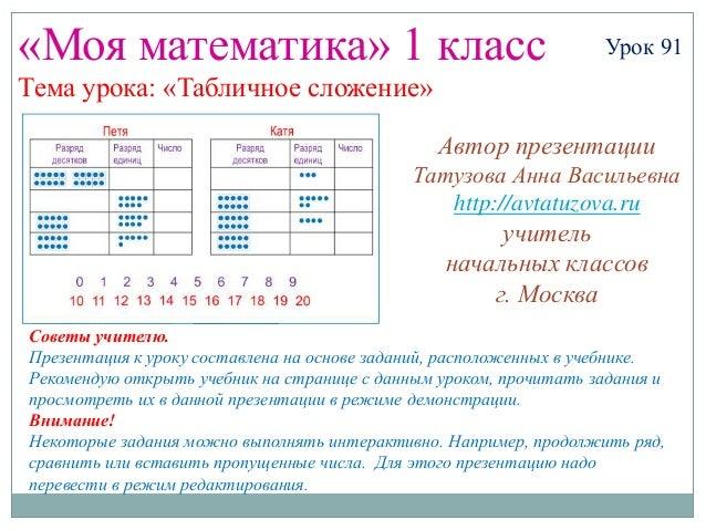 «Моя математика» 1 класс                                           Урок 91Тема урока: «Табличное сложение»                ...