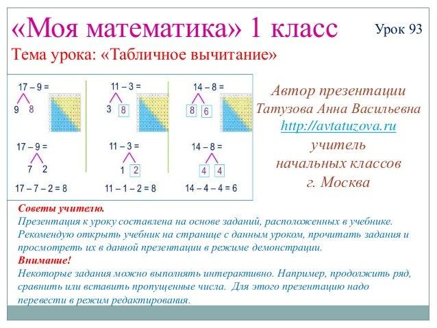 «Моя математика» 1 класс                                           Урок 93Тема урока: «Табличное вычитание»               ...