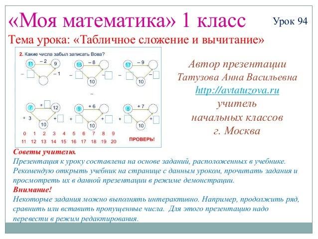 «Моя математика» 1 класс                                           Урок 94Тема урока: «Табличное сложение и вычитание»    ...