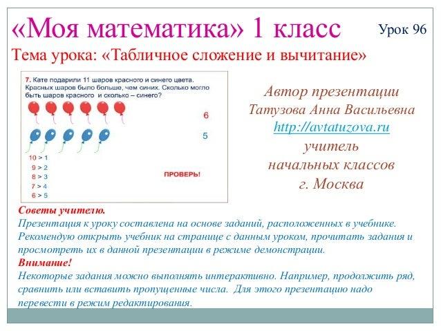 «Моя математика» 1 класс                                           Урок 96Тема урока: «Табличное сложение и вычитание»    ...