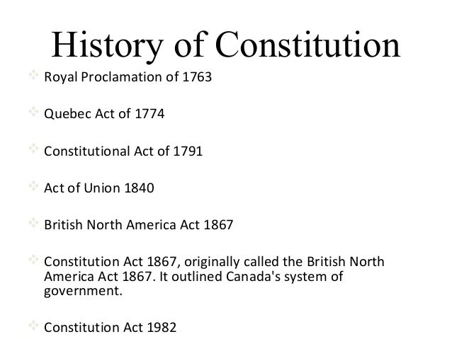 constitutional act 1867 The constitution act, 1867, originally known as the british north america act (bna act) was the law passed by the british parliament creating the dominion of canada at confederation confederation the bna act was enacted on 29 march 1867.