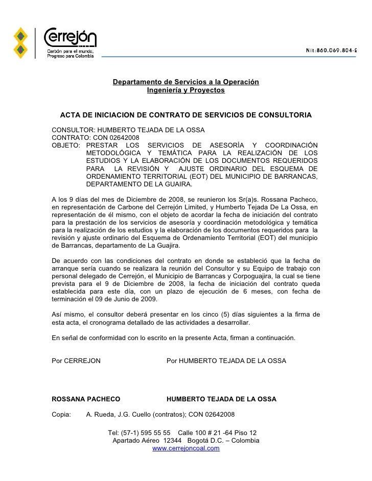 Modelos de contratos esslidesharenet 1 acta 01 de inicio for Modelo contrato laboral