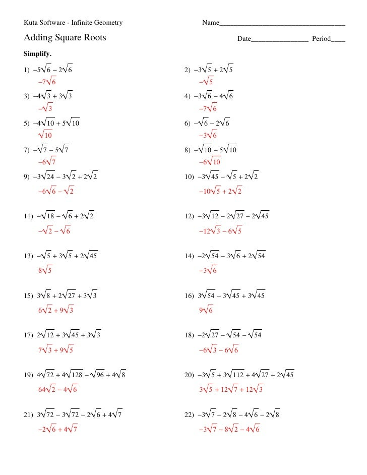 Simplify Radicals Worksheet 004 - Simplify Radicals Worksheet