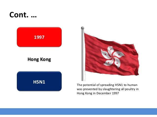 Cont. … 1997 Hong Kong H5N1 The potential of spreading H5N1 to human was prevented by slaughtering all poultry in Hong Kon...