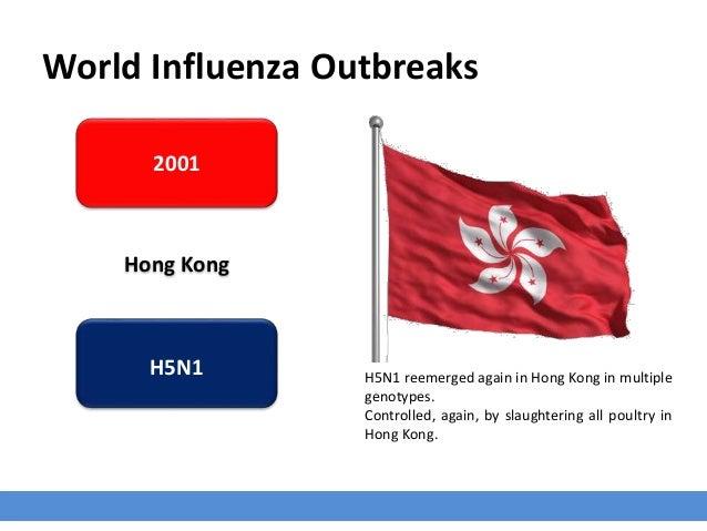 World Influenza Outbreaks 2001 Hong Kong H5N1 H5N1 reemerged again in Hong Kong in multiple genotypes. Controlled, again, ...