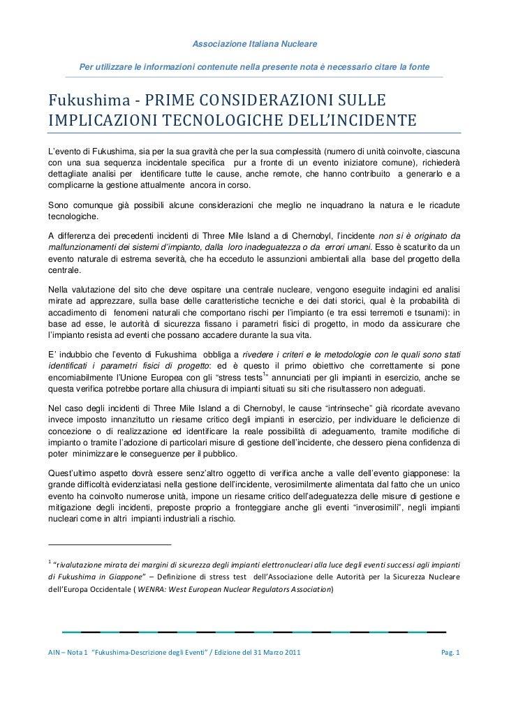 Associazione Italiana Nucleare              Per utilizzare le informazioni contenute nella presente nota è necessario cita...