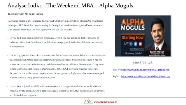 Alpha Moghuls - Weekend MBA in Investing - Analyse India Learning Series  Slide 2