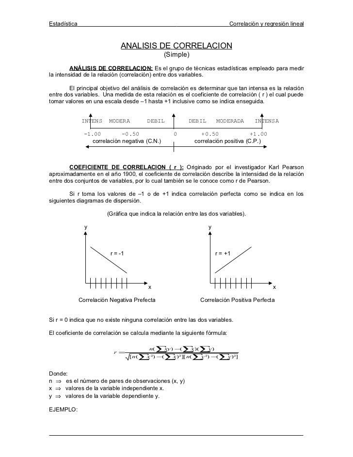 Estadística                                                               Correlación y regresión lineal                  ...