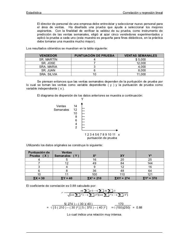 Estadística                                                                 Correlación y regresión lineal        El direc...