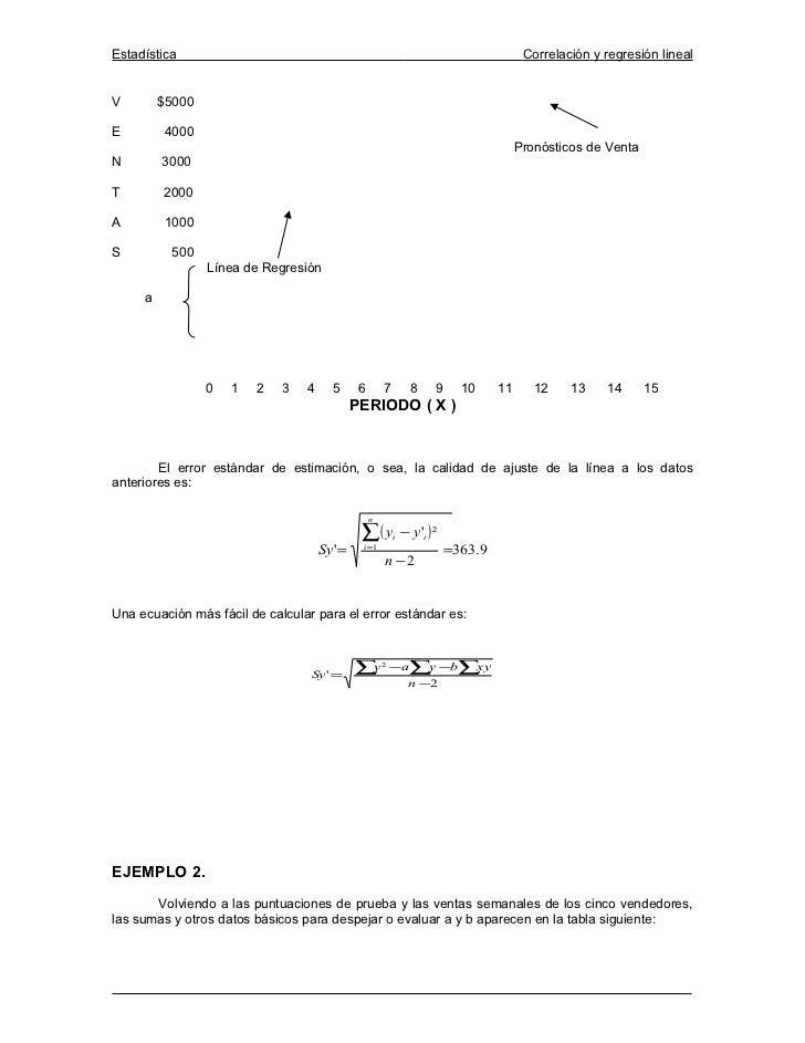 Estadística                                                                                Correlación y regresión linealV...
