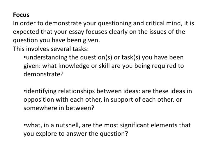 analysing essay questions In order to decide how to answer an essay question some methods to help you analyse essay questions analysing a question using answering assignment questions.
