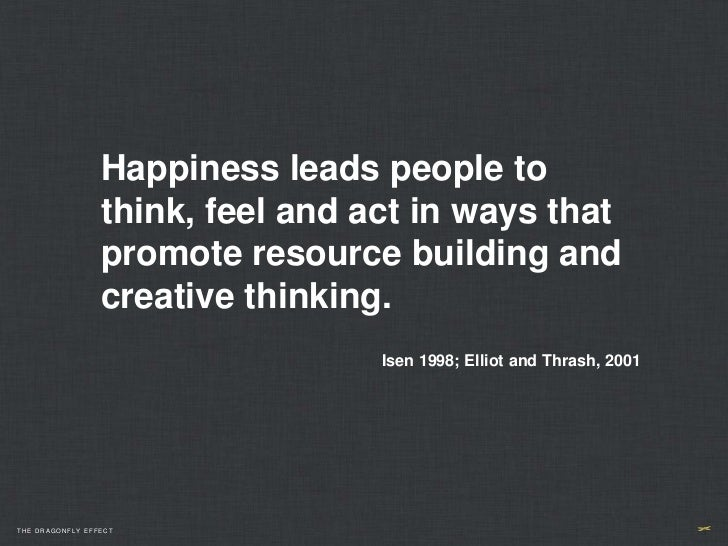 Happiness leads people to                 think, feel and act in ways that                 promote resource building and  ...