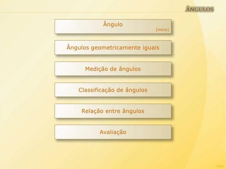 Ângulo                              [início]Ângulos geometricamente iguais     Medição de ângulos   Classificação de ângul...