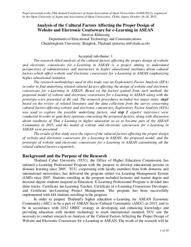 Paper presented at the 26th Annual Conference of Asian Association of Open Universities (AAOU2012), organizedby the Open U...