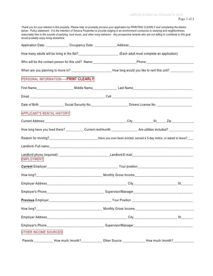 application for rental