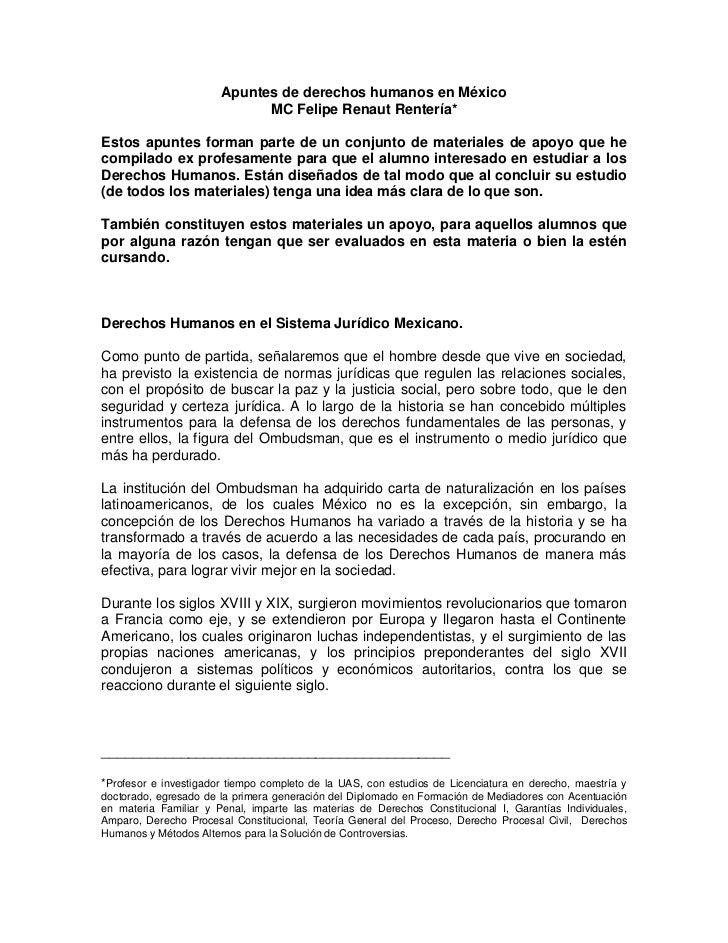 Apuntes de derechos humanos en México                             MC Felipe Renaut Rentería*Estos apuntes forman parte de ...