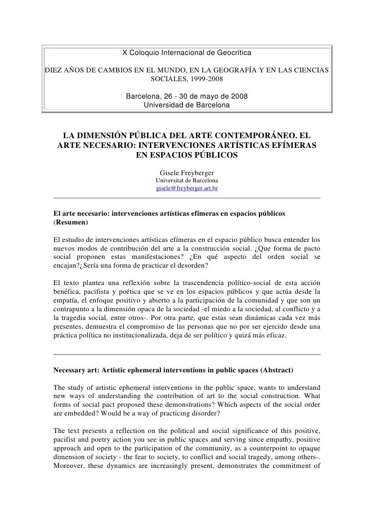X Coloquio Internacional de GeocríticaDIEZ AÑOS DE CAMBIOS EN EL MUNDO, EN LA GEOGRAFÍA Y EN LAS CIENCIAS SOCIALES, 1999-2...