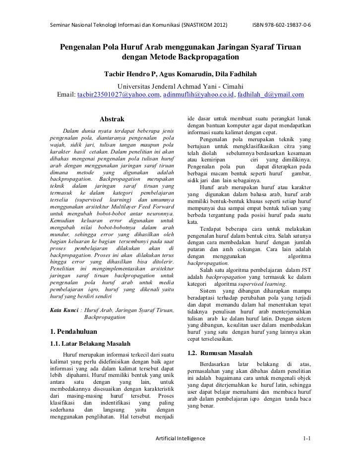 SeminarNasionalTeknologiInformasidanKomunikasi(SNASTIKOM2012)               ISBN978‐602‐19837‐0‐6    Pengenalan ...