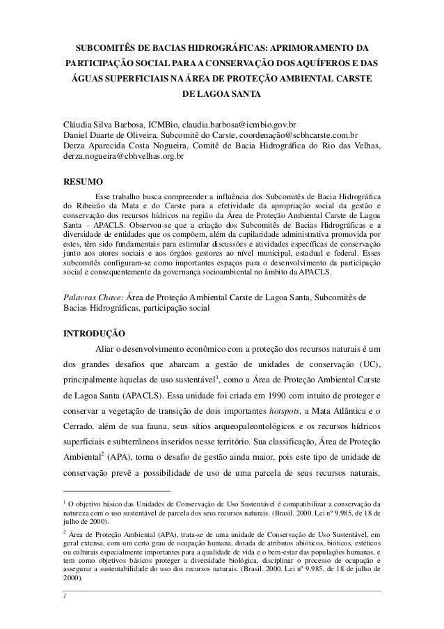 1 SUBCOMITÊS DE BACIAS HIDROGRÁFICAS: APRIMORAMENTO DA PARTICIPAÇÃO SOCIAL PARAA CONSERVAÇÃO DOS AQUÍFEROS E DAS ÁGUAS SUP...