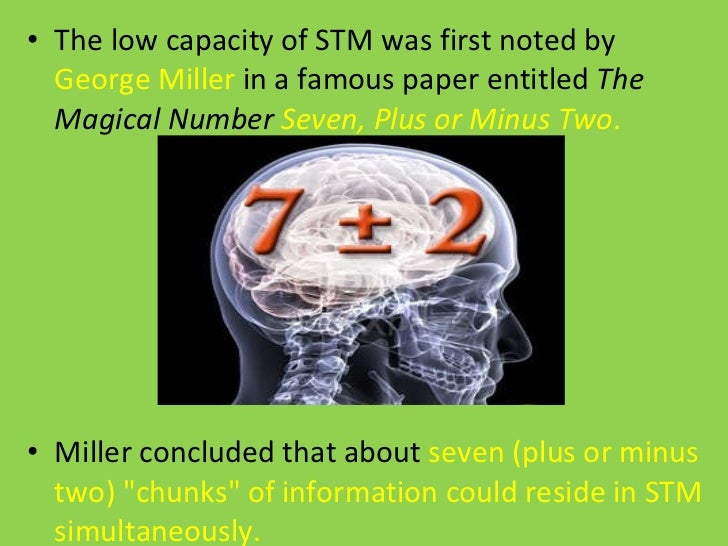 the effect chunking of numbers has on short term memory recall essay This has been termed goal orrientated chunking (eg a conscious process) short term memory psychology essay while there is also a perceptual or non-conscious form of chunking (gobet et al, 2001) anova.