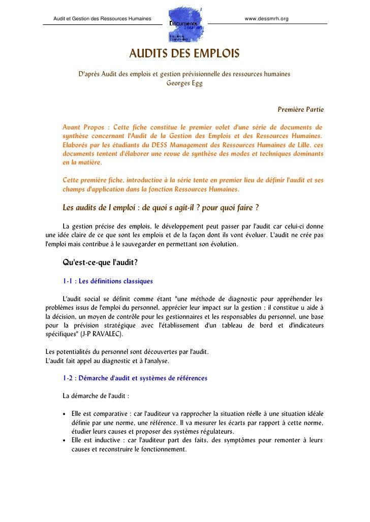 Audit et Gestion des Ressources Humaines                               www.dessmrh.org                                 AUD...