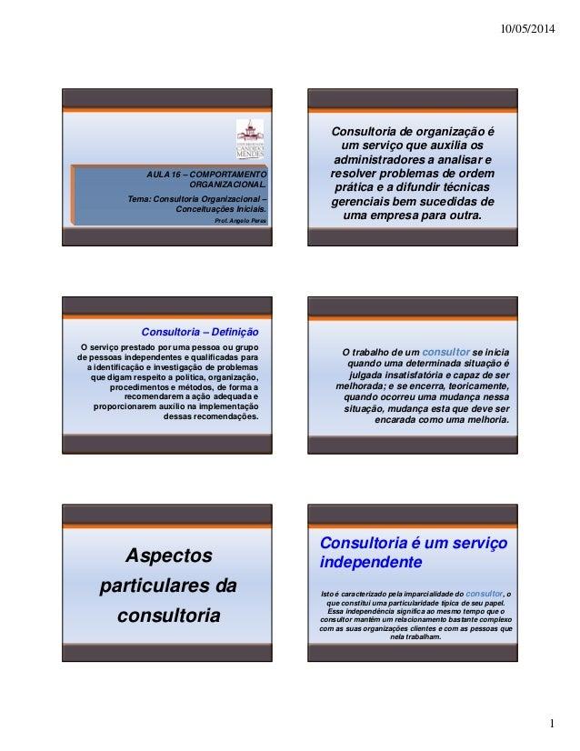 10/05/2014 1 AULA 16 – COMPORTAMENTO ORGANIZACIONAL. Tema: Consultoria Organizacional – Conceituações Iniciais. Prof. Ange...
