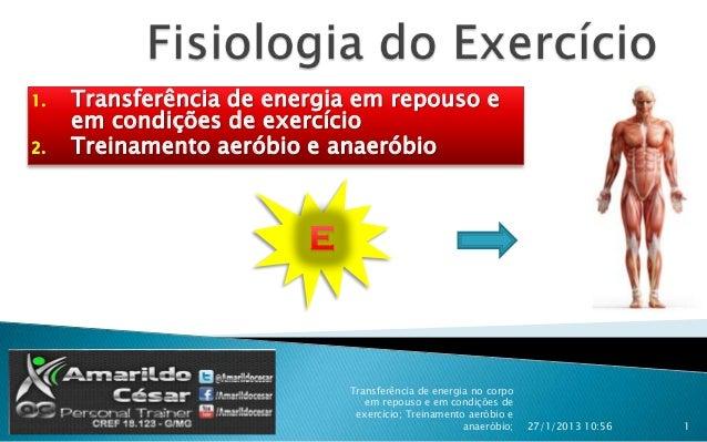 1.   Transferência de energia em repouso e     em condições de exercício2.   Treinamento aeróbio e anaeróbio              ...