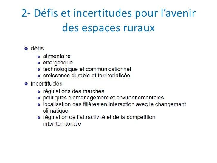 2- Défis et incertitudes pour l'avenir         des espaces ruraux