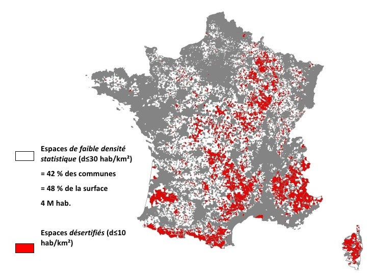 Espaces de faible densitéstatistique (d≤30 hab/km²)= 42 % des communes= 48 % de la surface4 M hab.Espaces désertifiés (d≤1...