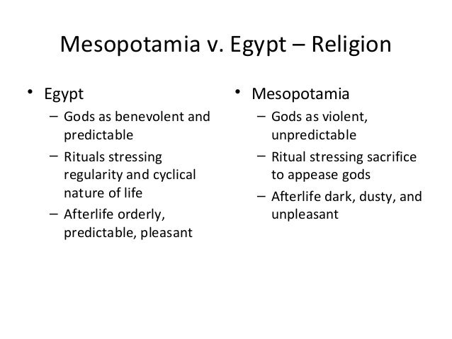 mesopotamia vs egypt