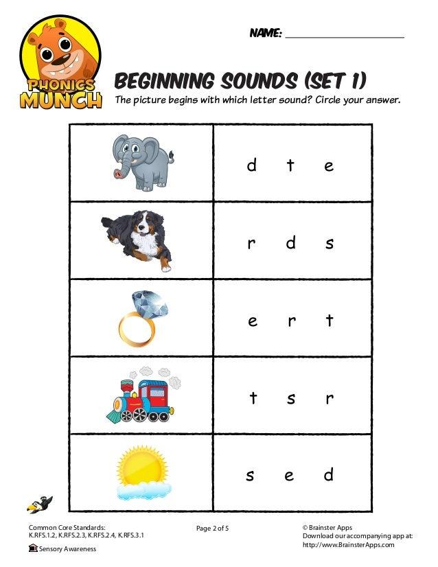 Beginning Sounds Phonics Worksheet  Slide 2