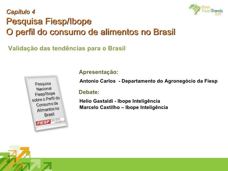 Capítulo 4 Pesquisa Fiesp/Ibope O perfil do consumo de alimentos no Brasil Validação das tendências para o Brasil Antonio ...