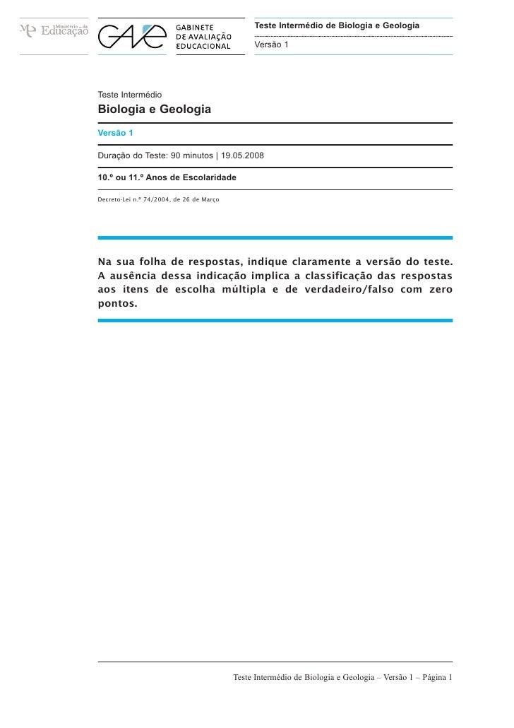 Teste Intermédio de Biologia e Geologia                                               Versão 1Teste IntermédioBiologia e G...