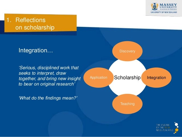 1. Reflections   on scholarship    Application…                                   Discovery    'Theory and practice vitall...