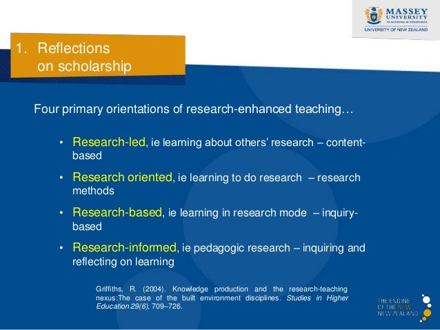 1. Reflections   on scholarship  A model expanded by Healey…  Healey, M. (2005). Linking research and teaching: exploring ...