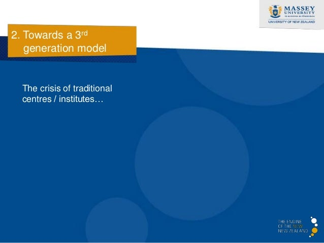 2. Towards a 3rd   generation model  The crisis of traditional  centres / institutes…  • In a constant state of     restru...